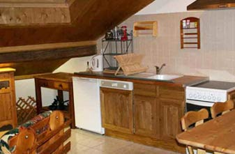 A typical kitchen area for one bedroom Meribel apartments