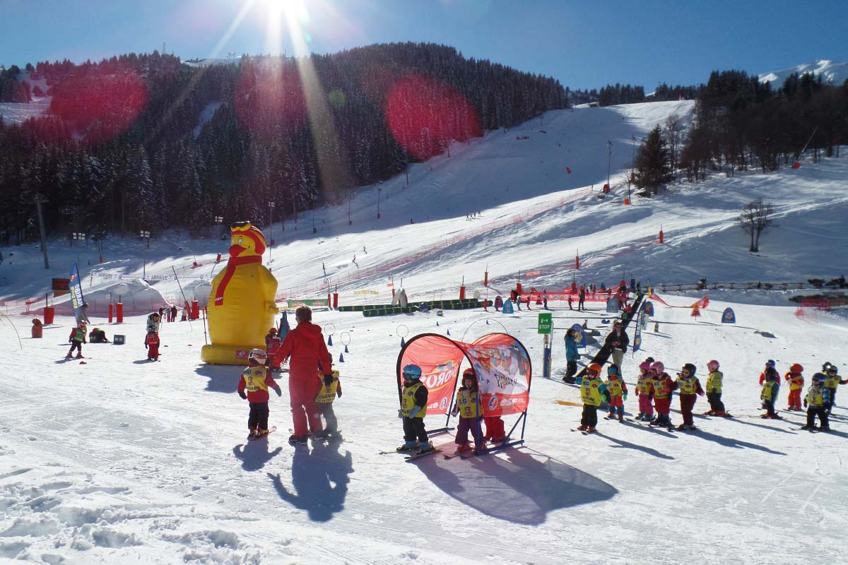 Children Skiing In Meribel